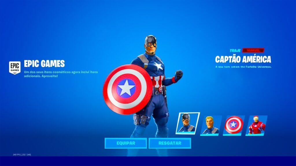 Skin Capitão América para Fortnite